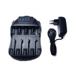 Cargador inteligente para 4 baterías de linternas 18650 y otras + USB