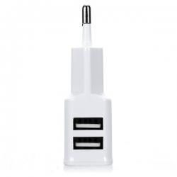 Plug dual USB chargeur de téléphone mobile 2A 2000ma mur blanc
