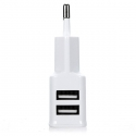 Enchufe USB doble cargador movil 2A 2000mAH pared blanco 2 ports