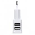 Enchufe USB doble cargador movil 2A 2000mAH pared blanco 2 ports