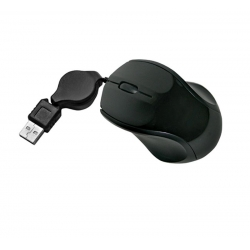 USB Mini Ergonomic Optical Mouse with Retractable Cable - Black