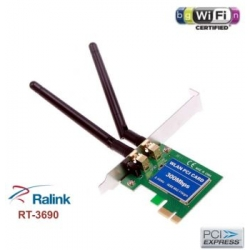 Scheda WIFI PCI-E pci Express n 300mbps 2 antenne MiMo RT3690