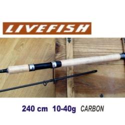 Caña de pesca 240cm 2,40m spinning10g-40g carbon pescar río mar
