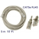 Cable de red RJ45 RJ-45 5 metros 5m CAT 5E para router macho A