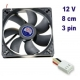 Ventilador CPU placa mãe PC 12v 80mm 8cm 3pin fã