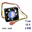 Fan Cooler 3Pin Mini Cooling 7CM 70MM 7015 70x70x15mm CPU 12V