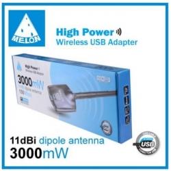 Amplificador WIFI céu USB antena MELÃO 3000MW N3000 11DBi larga