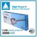 Amplificatore WIFI sky antenna USB MELONE 3000MW N3000 11DBi lungo