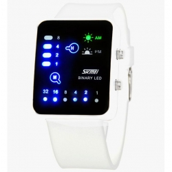 Montre LED binaire poignet lumière SKMEI 0890 3ATM résistant à l'eau blanc