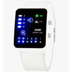 Orologio LED a binario da polso luce SKMEI 0890 3ATM resistente all'acqua bianco