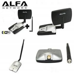 Adaptador WIFI ALFA AWUS036H USB SMA painel de 7dBI 1w direccional