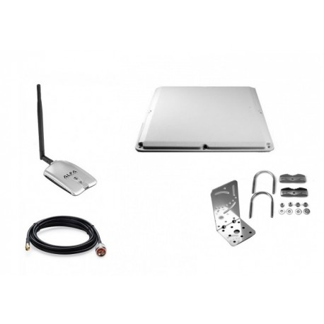 Pack Antenne Panel Alfa Network 19dBi + Adaptateur USB RTL8188