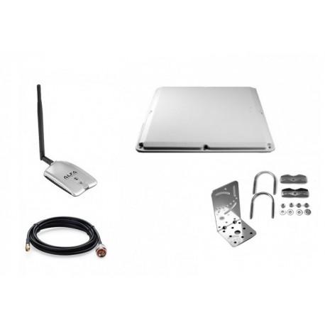 Pacote de antena de painel Alfa Network 19dBi + adaptador USB RT3070