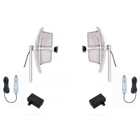 WiFi kit antennas up to 5km with 2 24dbi parabolic + bridge +