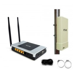 Kit WIFI for two houses caravan camping boat panel Antenna + router repeater