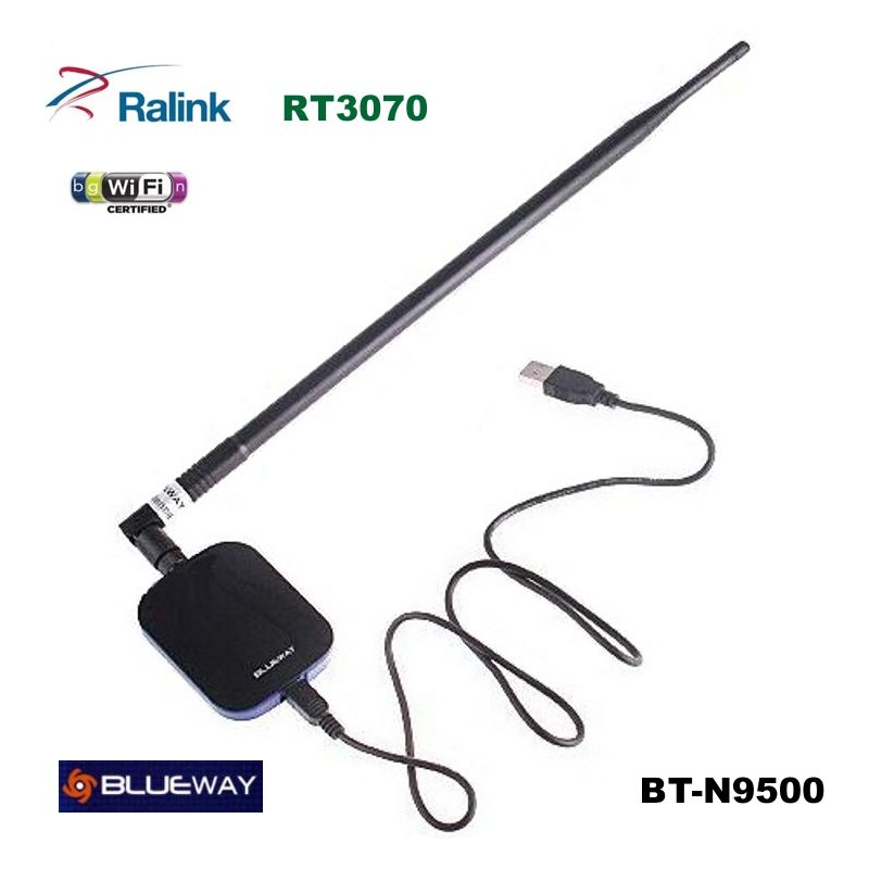 Cl usb wifi n 2w antena 18dbi blueway 150 bt n9500 rt3070 - Antenne wifi longue portee omnidirectionnelle 22 dbi ...