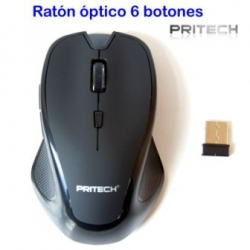 raton optico laser USB inalambrico gamer 6 botones laterales dpi