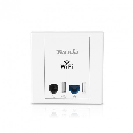 TENDA W6 enchufe de pared con WIFI y Rj45 LAN Rj11 USB N300