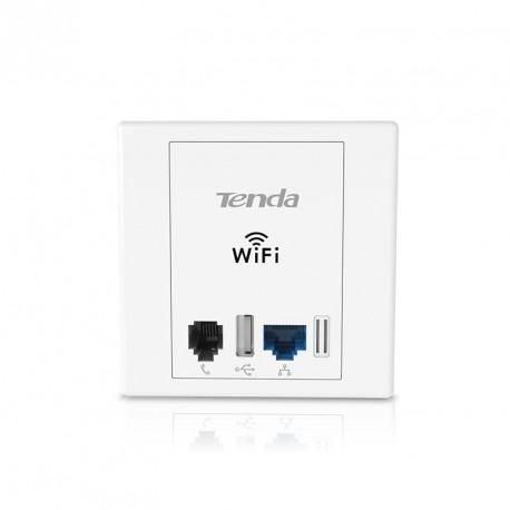 TENDA W6 wall socket with WIFI and Rj45 LAN Rj11 USB N300