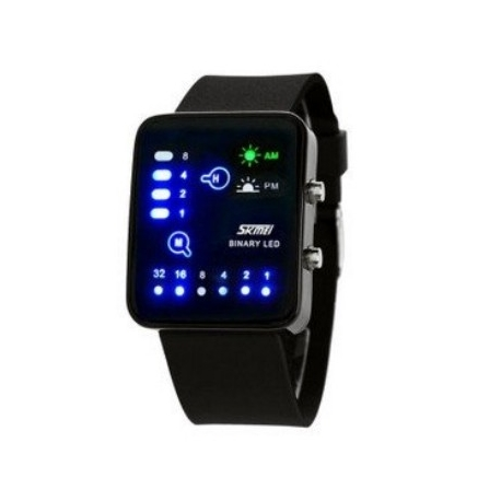 Montre Binaire binaire LED de SKMEI 0890 submersible Noir 3ATM