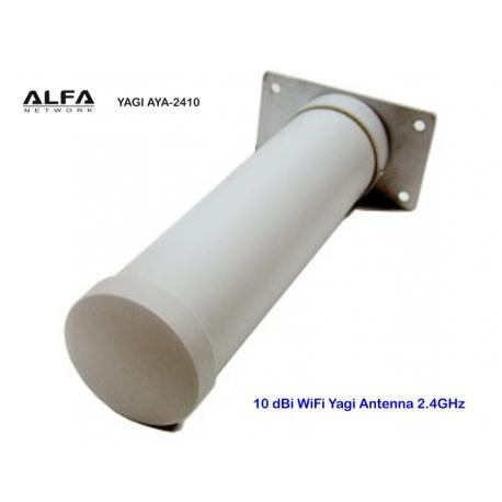 Antena WiFi Yagi 10dBi Alfa Network AYA-2410 2.4GHz exterior