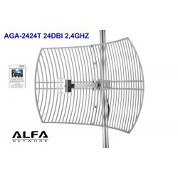 Antena WIFI parabolica rejilla Alfa AGA-2424T 24dBi Grid N