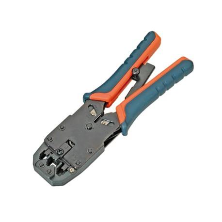 Alicate para cravar cabos e conectores RJ45 / RJ12 /RJ11 catraca