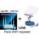 Pack router Openwrt ripetitore USB spagnolo + antenna wifi 36dbi
