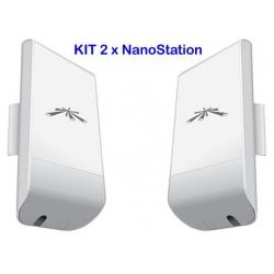 Ubiquiti NanoStation locoM2 KIT di 2 unità di connessione WIFI 2 case