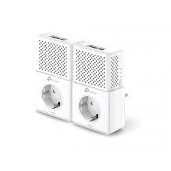PLC Tp Link Kit de Inicio Powerline AV1000 con 2 puertos Gigabit y Enchufe Incorporado