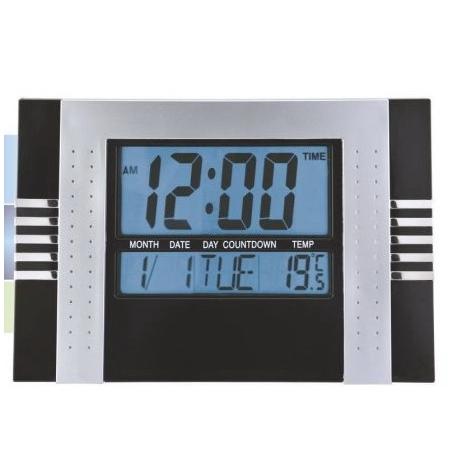 Reloj digital de pared cocina y oficina numeros grandes Negro