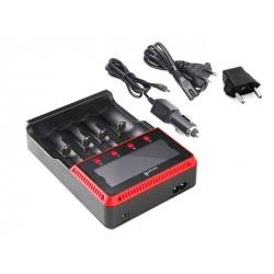 UltraFire H4 carregador baterias lanterna tomada carro ecrã