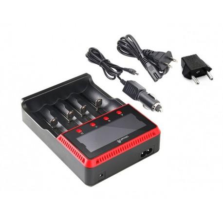 UltraFire H4 cargador baterias linterna enchufe coche pantalla