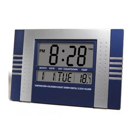 Digital clock home kitchen wall alarm calendar blue - Relojes grandes de pared ...