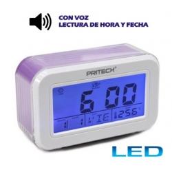 Reloj digital despertador LED azul con Voz dice hora en español