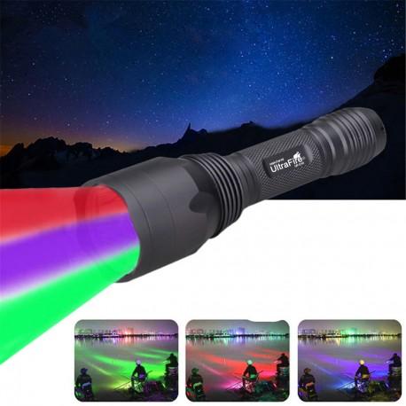 Ultrafire New UF-C10 Linterna Verde Rojo y Ultravioleta UV caza