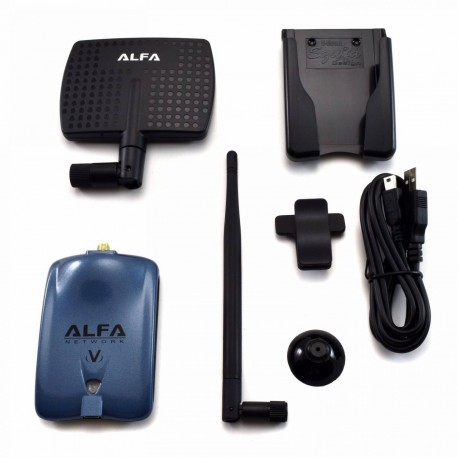 Pack WiFi Alfa AWUS036NHV USB + Antena 7dBi painel + suporte