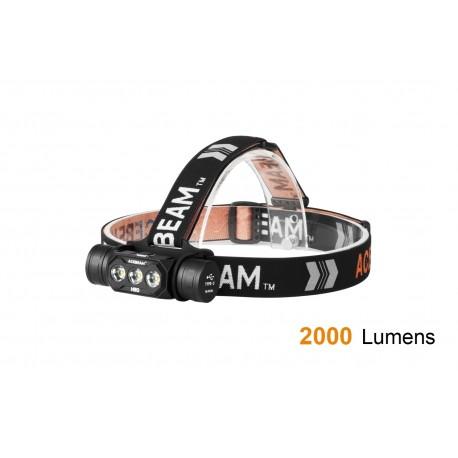 Acebeam H50 lampe frontale avec 3 LED juxtaposés et TIR