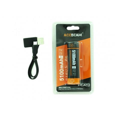 Batería recargable 21700 micro-USB de 5100mAh con USB de dos
