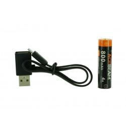 ARC14500N-800 batteria 14500 800mAh micro USB incorporato e cavo di ricarica