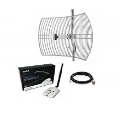 Pacote Antena WiFi Parabólica + Rede Alfa AWUS036NHR 24dBi