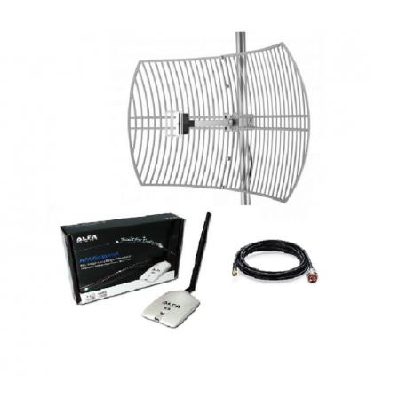 Pack WiFi Antenna parabolica + Network Alfa AWUS036NHR 24dBi