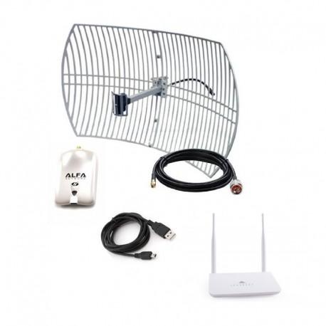 Antena parabólica WiFi Alfa com AWUS036NHR + USB ROUTER R658N