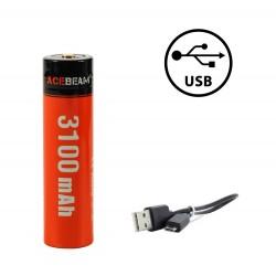 Batterie 18650 Charge USB Acebeam IMR 18650 3100mAh 3.6V protégée