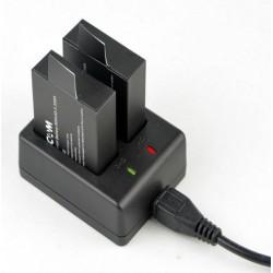 Cargador USB SJCAM SJ4000 con 2 baterías 900mAh 3,33Wh 3,7v camara WIFI