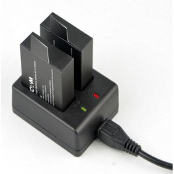 Dual battery charger SJCAM SJ400 + 2 batteries 900mAh 3,7v