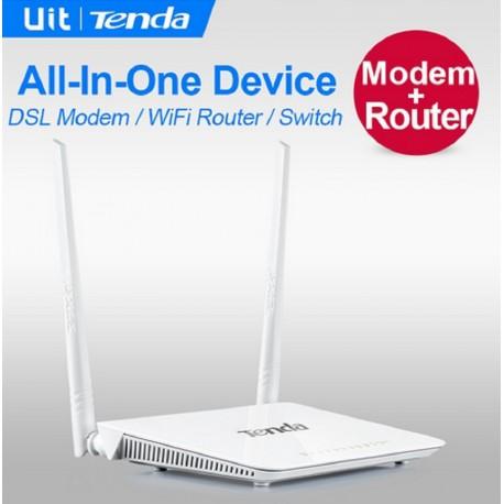 Tenda D301 ADSL2 WLAN-Router + Modem mit USB-Druckerfreigabe