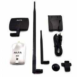Set ALFA AWUS036NHR + Antena de 7dBi + PANEL 9dBi + Soporte