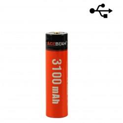 BATTERIE 18650 RECHARGEABLE USB-C ACEBEAM 3100MAH