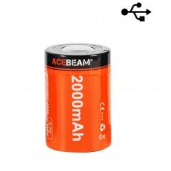 Bateria Acebeam USB Recarregável 26350 2000mAh